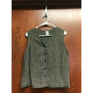 Eileen Fisher Black White Vest Linen Blend  Small